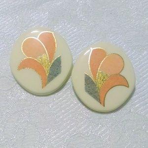 Vintage 1980's Ceramic Painted Flower Earrings